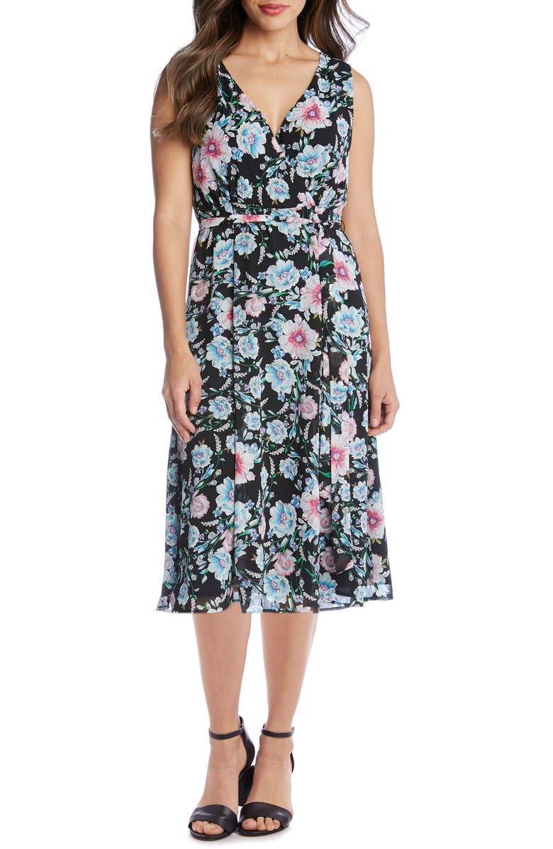 KAREN KANE Floral Faux Wrap Sleeveless Midi Dress, Main, color, 440