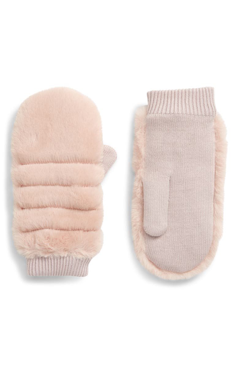 UGG<SUP>®</SUP> Faux Fur Mittens, Main, color, PINK CRYSTAL