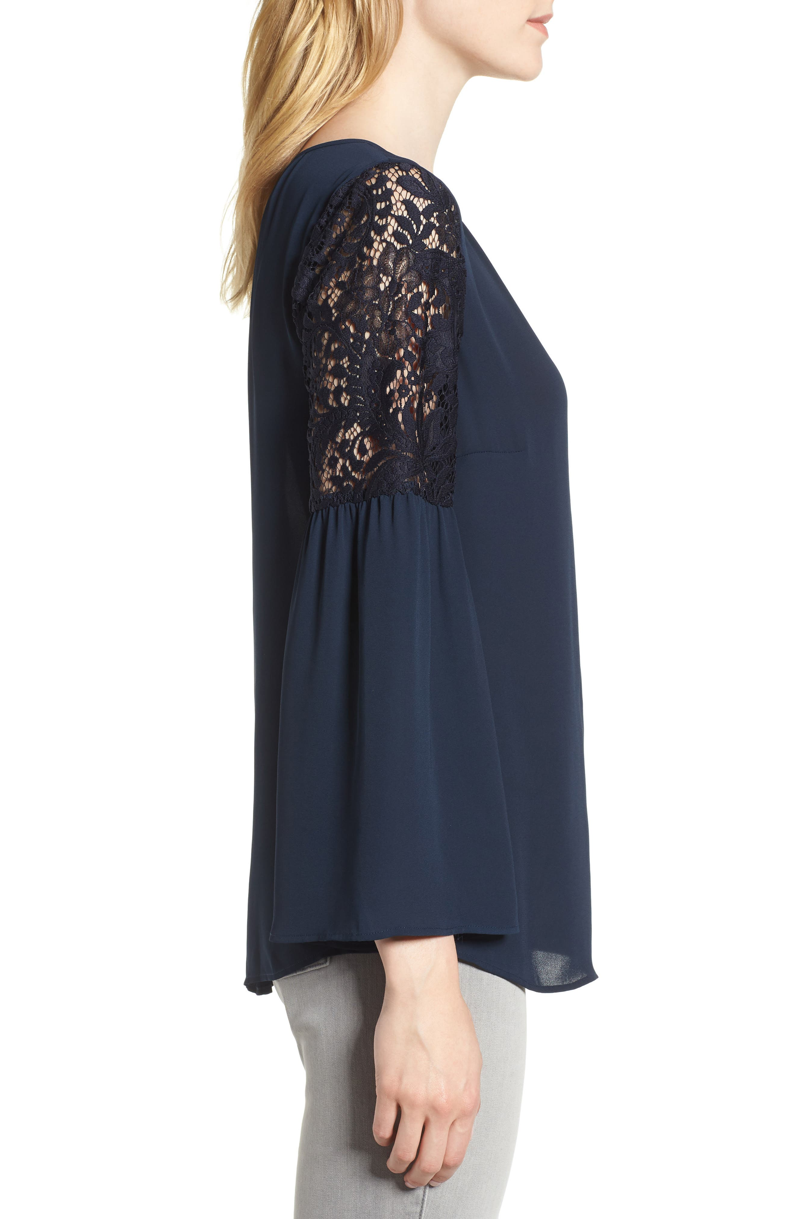 ,                             Lace Bell Sleeve Top,                             Alternate thumbnail 22, color,                             410
