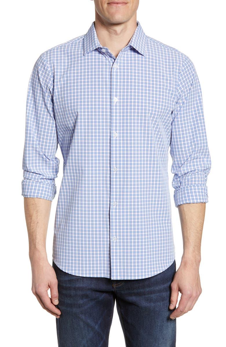 MIZZEN+MAIN Alexander Check Performance Shirt, Main, color, LIGHT BLUE