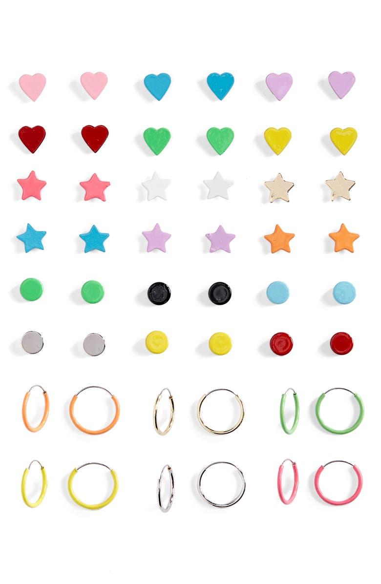 BP. Be Proud by BP Gender Inclusive Pride Stud & Hoop Earrings, Main, color, RAINBOW MULTI