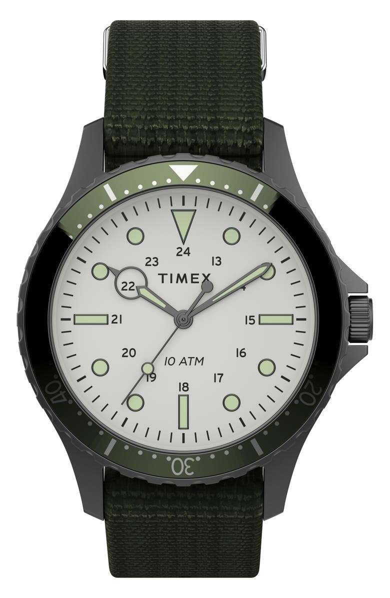 TIMEX<SUP>®</SUP> Navi XL NATO Strap Watch, 41mm, Main, color, GREEN/ WHITE/ GUNMETAL