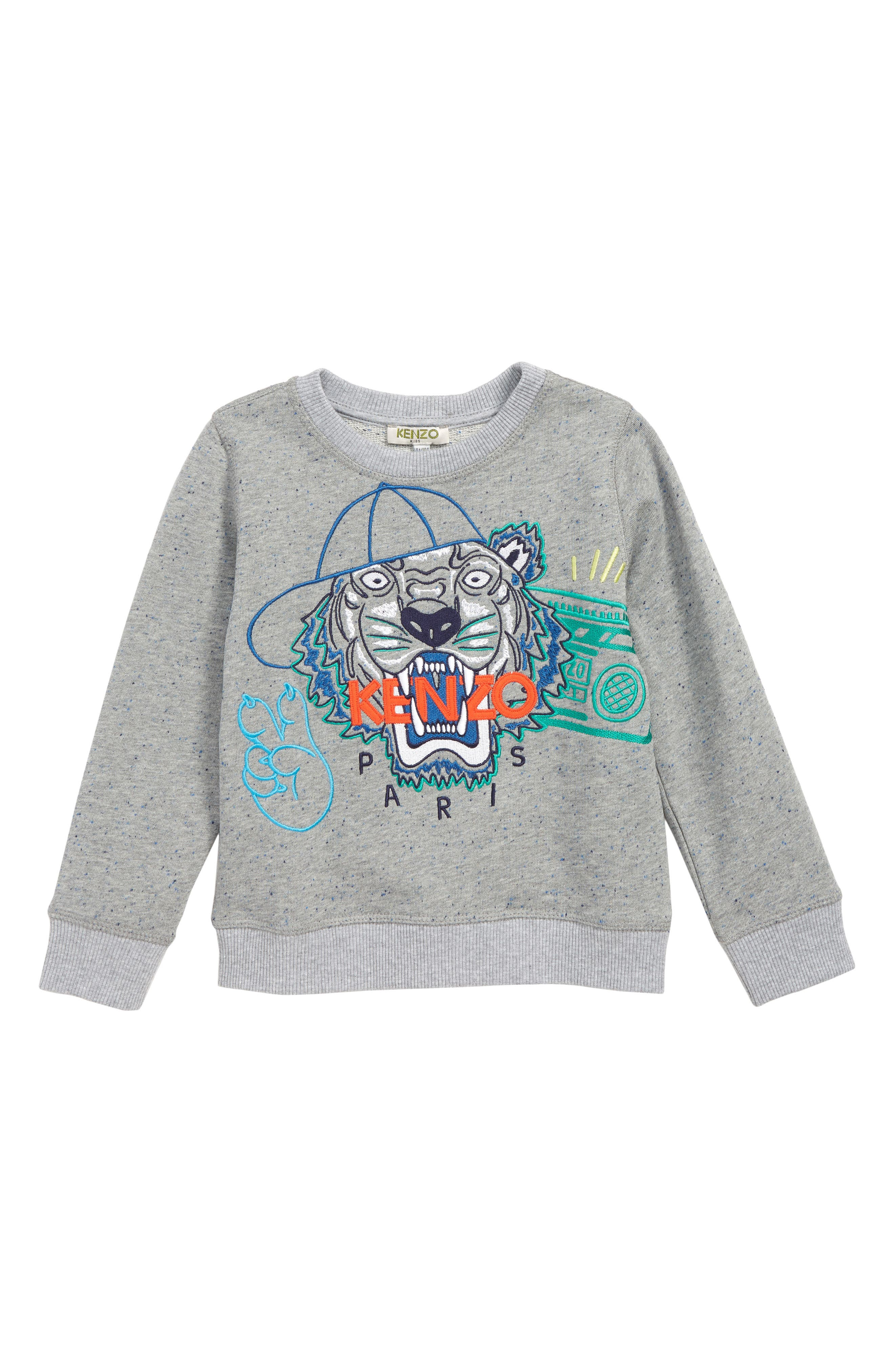 ,                             Wax Embroidered Tiger Sweatshirt,                             Main thumbnail 1, color,                             MARL GREY