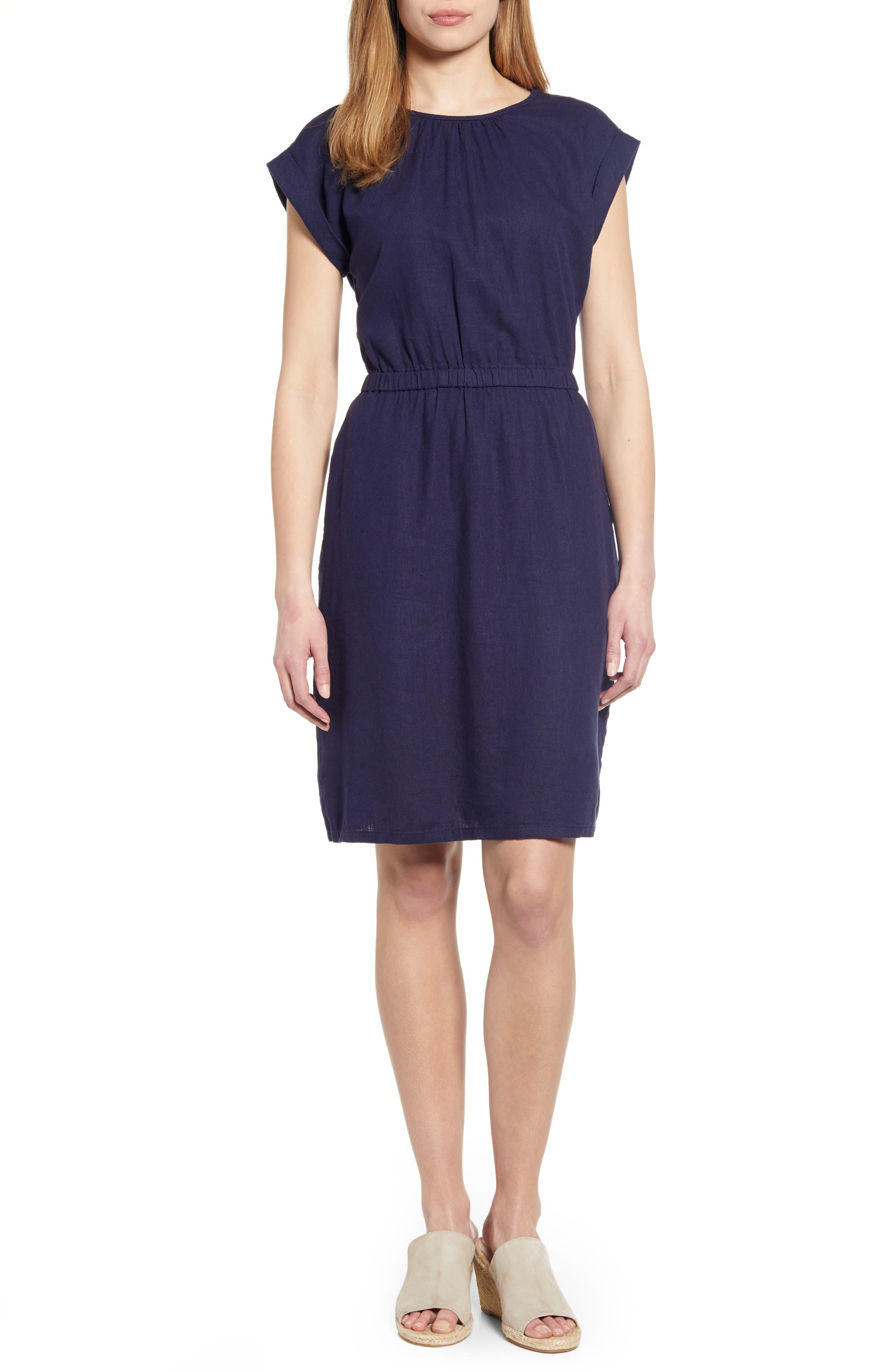 Petite Caslon Linen Blend Dress, Blue
