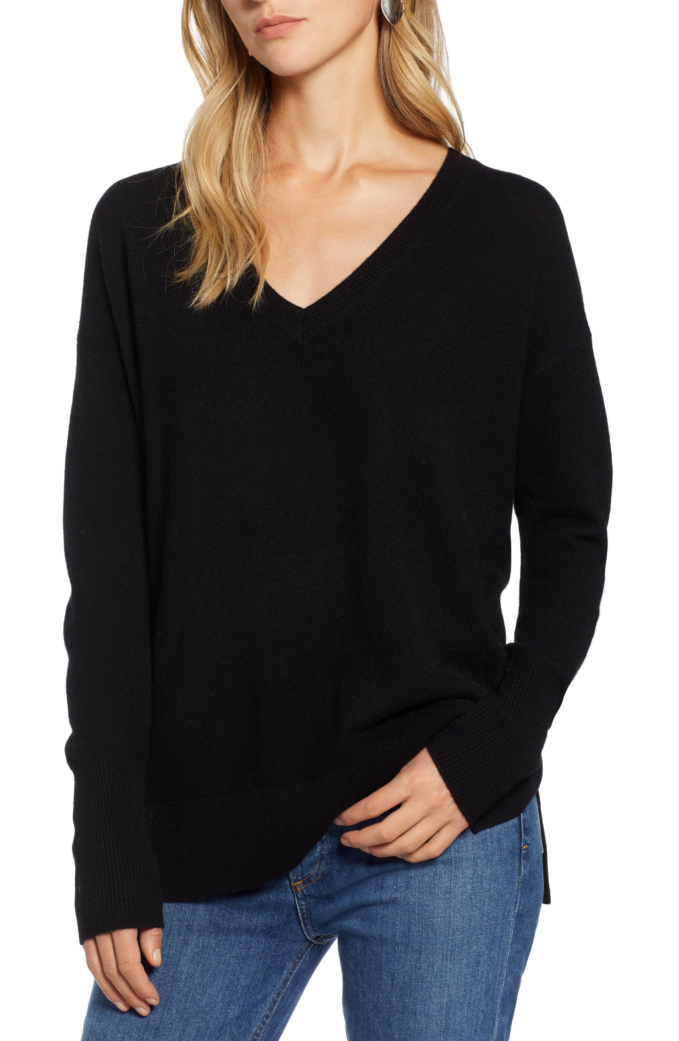 ,                             Relaxed V-Neck Cashmere Sweater,                             Main thumbnail 8, color,                             001