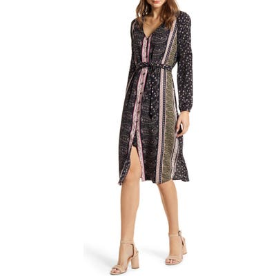 Cupcakes And Cashmere Nollie Stripe Long Sleeve Midi Dress, Black