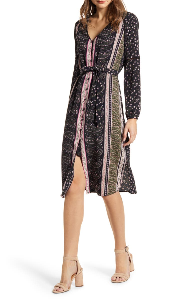 CUPCAKES AND CASHMERE Nollie Stripe Long Sleeve Midi Dress, Main, color, BLACK