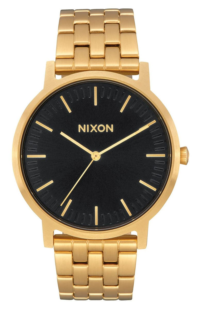 NIXON Porter Bracelet Watch, 40mm, Main, color, ALL GOLD / BLACK