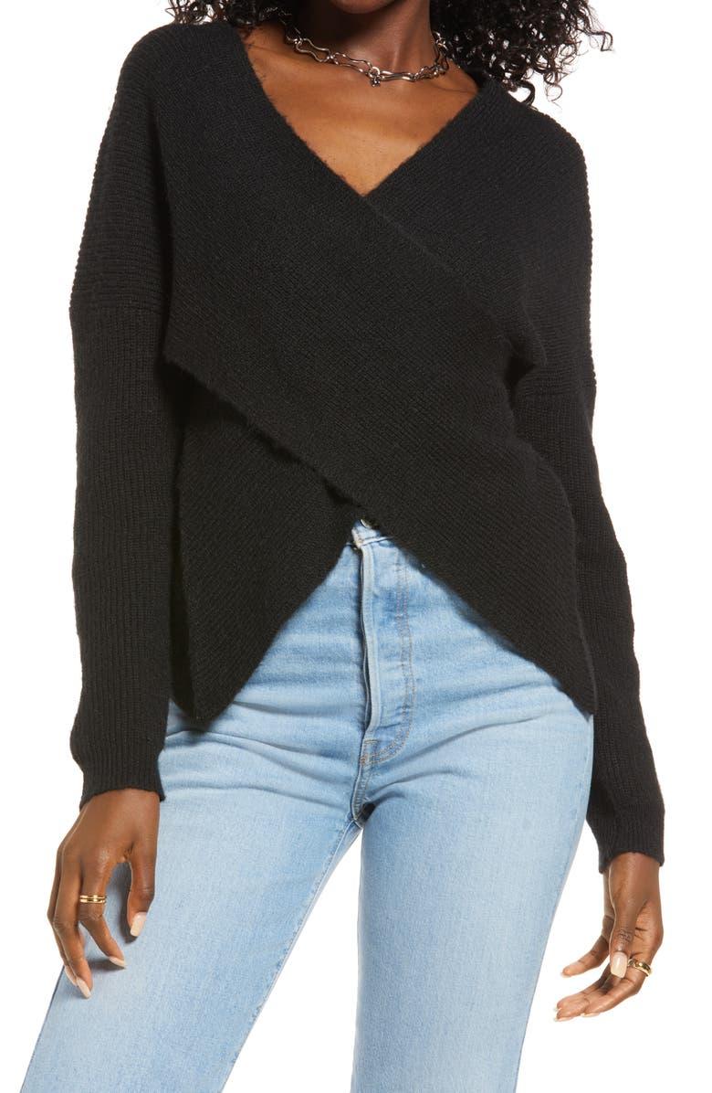 OPEN EDIT Wrap Sweater, Main, color, BLACK