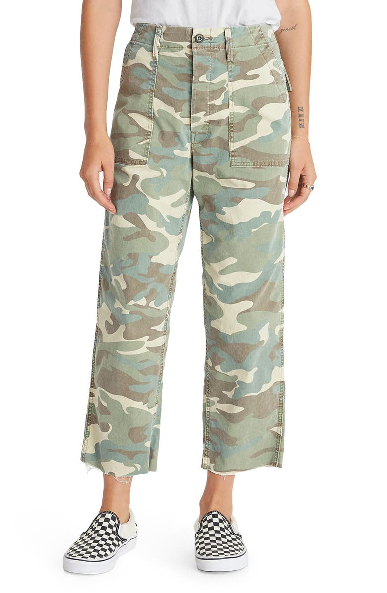 MOTHER The Patch Pocket Frayed Ankle Military Pants, Main, color, KILLING TIME CAMO