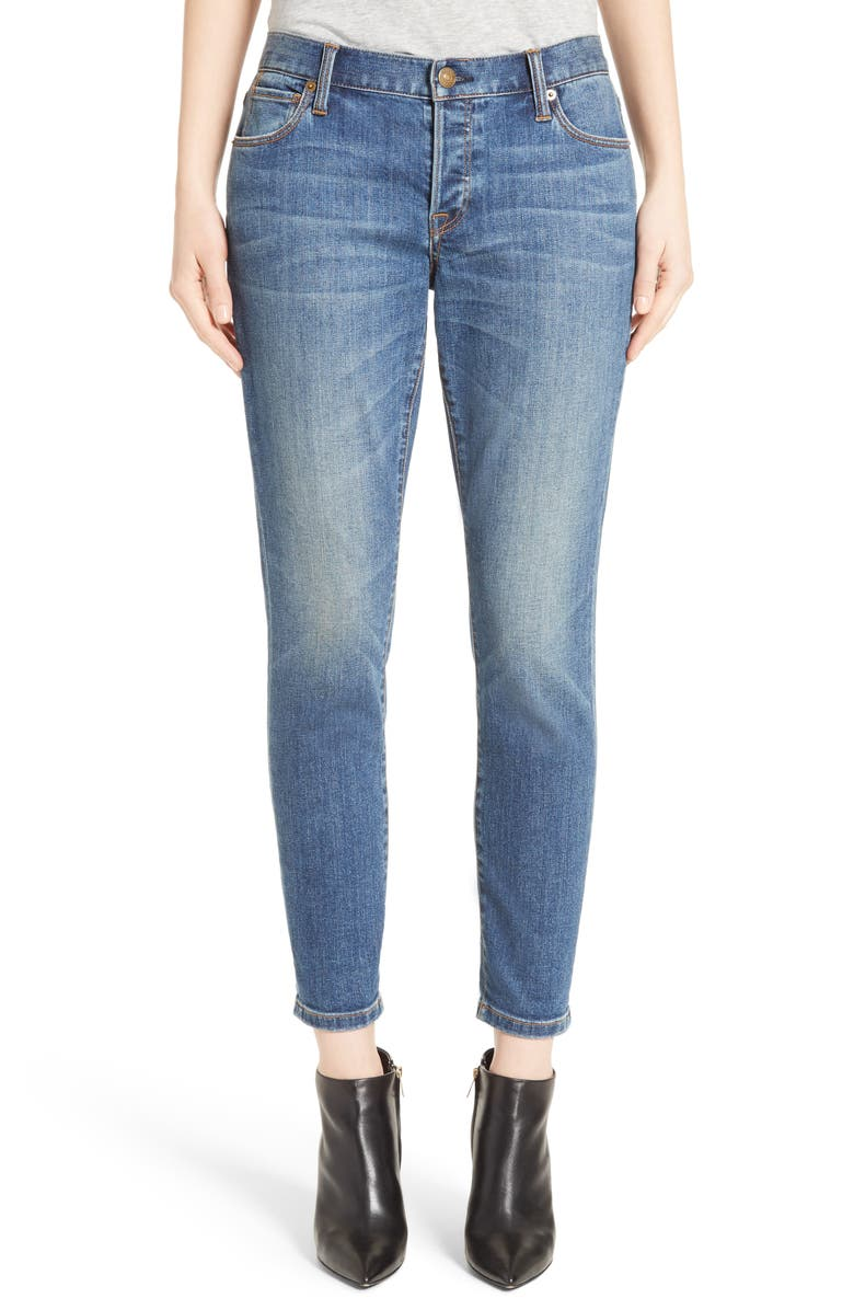 BURBERRY Relaxed Skinny Jeans, Main, color, MID INDIGO