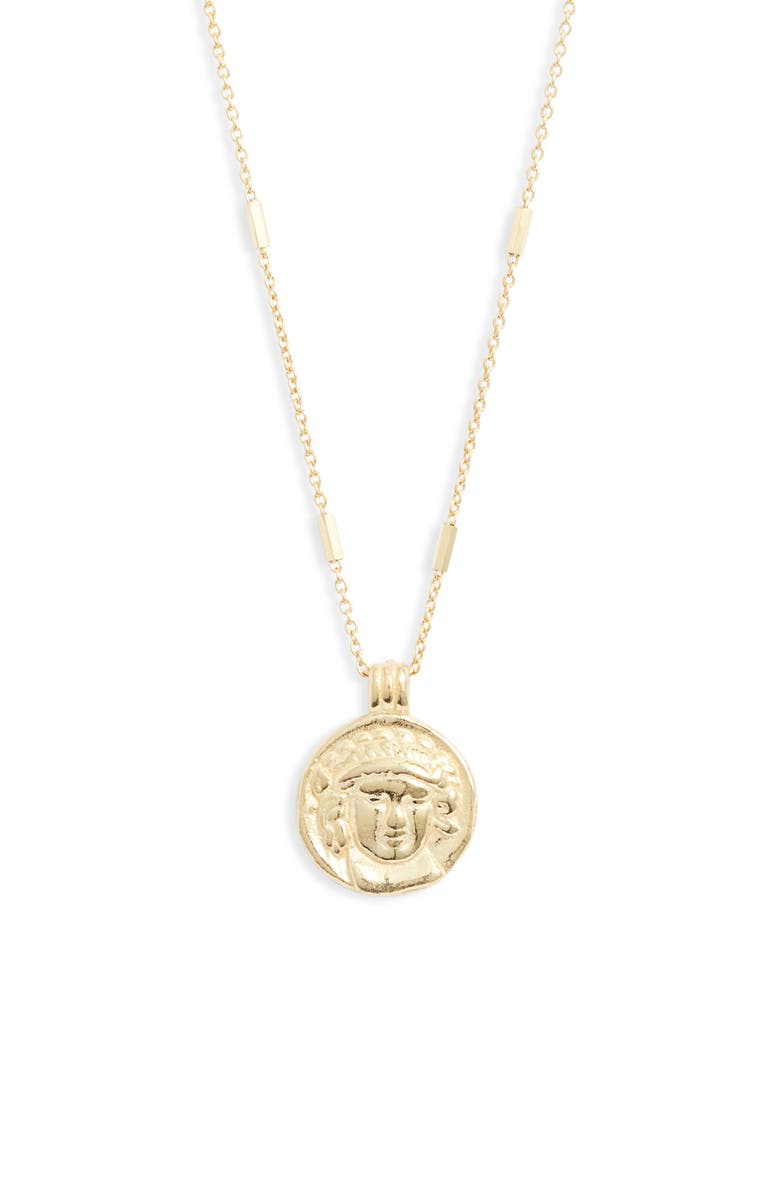 ADINA'S JEWELS Adina's Jewels Mini Greek Coin Necklace, Main, color, GOLD