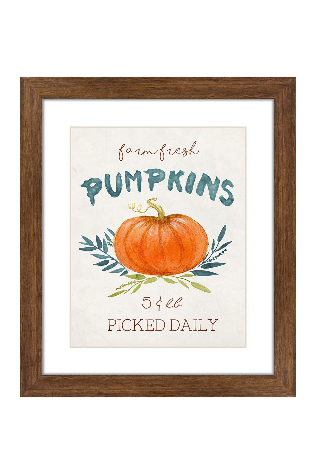 Image of PTM Images Fresh Pumpkins Rustic Wood Framed Matted Giclee Print
