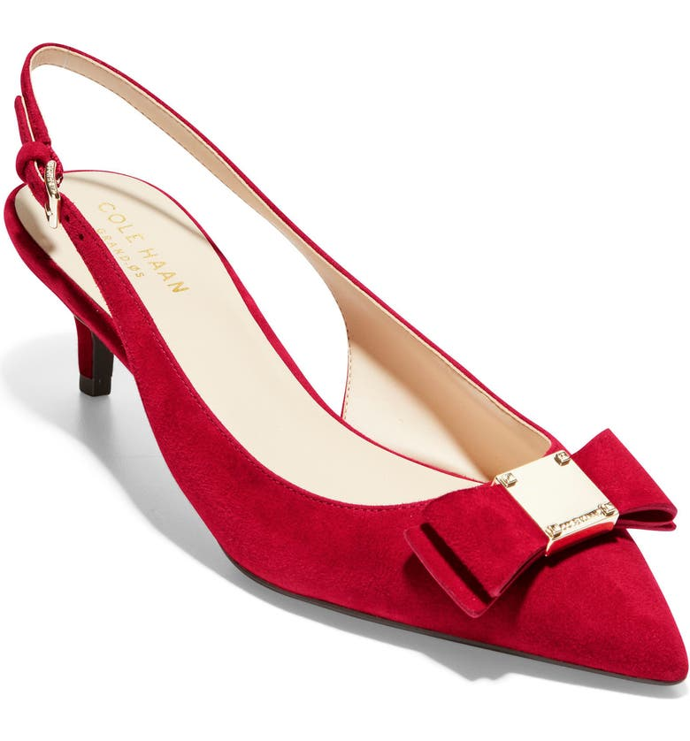 COLE HAAN Tali Bow Slingback Pump, Main, color, RED DAHLIA SUEDE