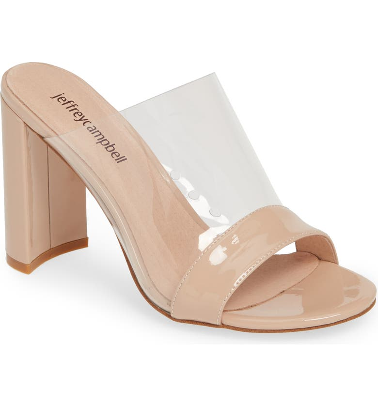 JEFFREY CAMPBELL Keira Slide Sandal, Main, color, NUDE PATENT/ CLEAR
