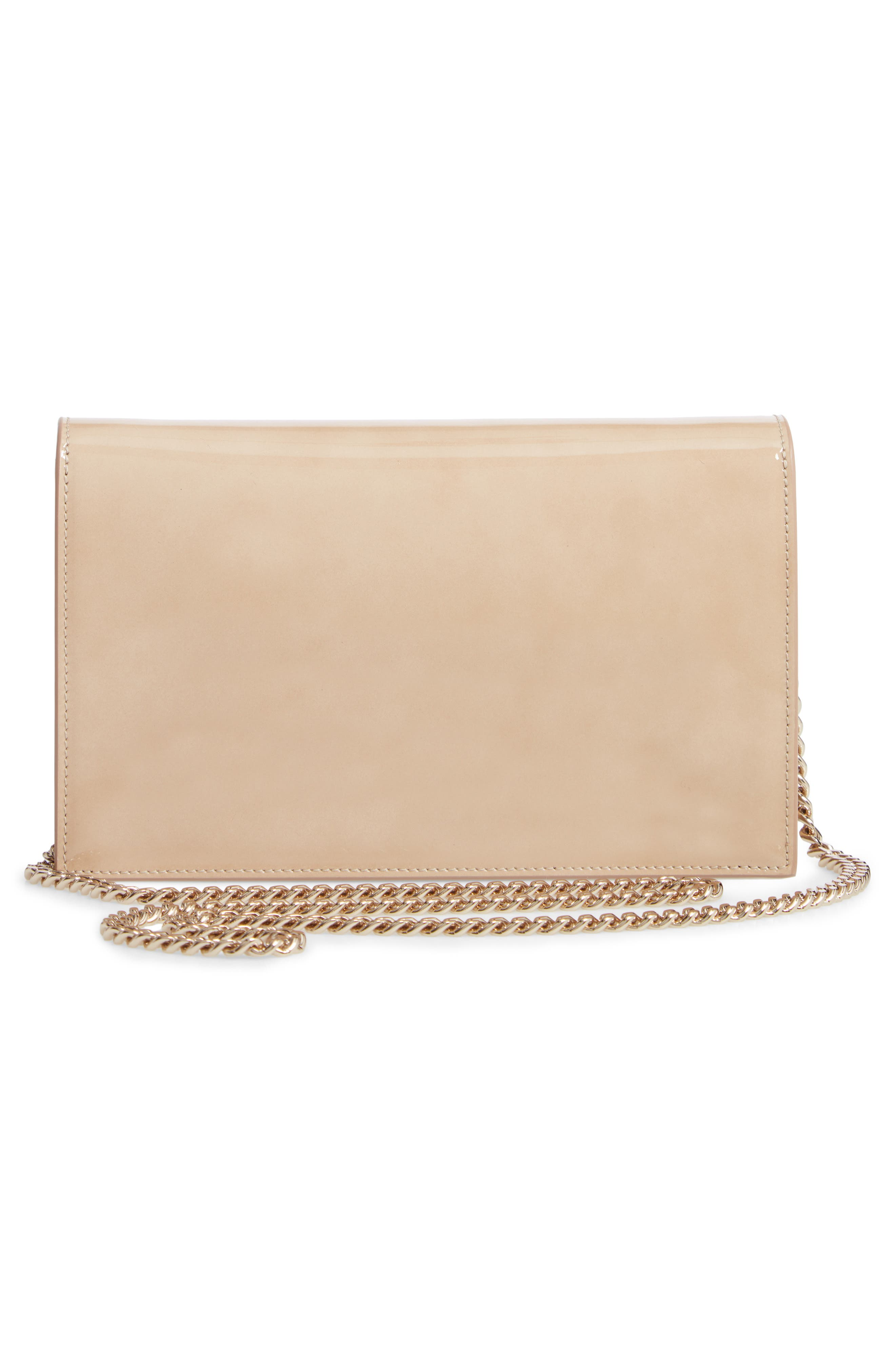 ,                             Lizzie Patent Leather & Suede Clutch,                             Alternate thumbnail 3, color,                             NUDE