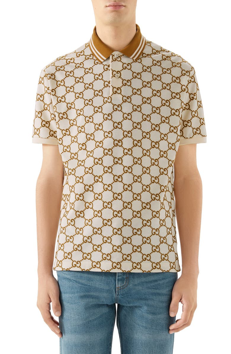 GUCCI GG Stretch Piqué Short Sleeve Polo, Main, color, IVORY
