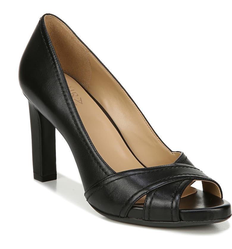 NATURALIZER Odetta Open Toe Pump, Main, color, BLACK LEATHER