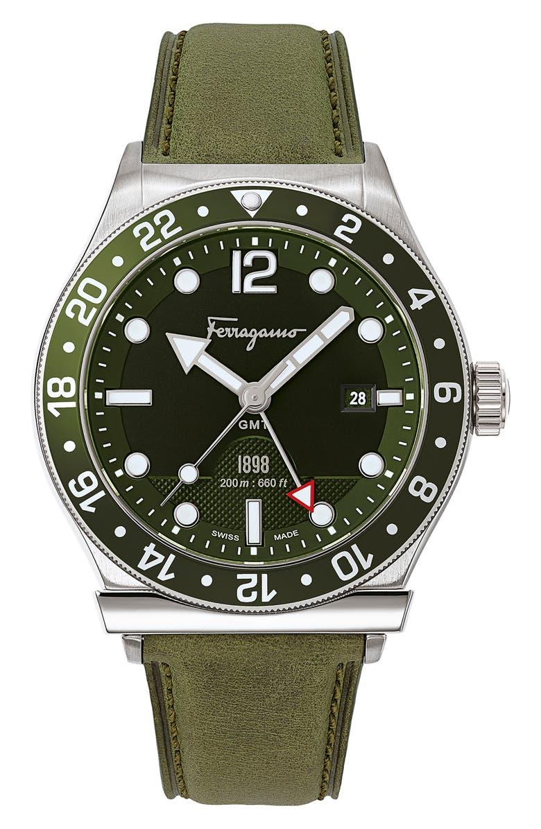 SALVATORE FERRAGAMO Sport Leather Strap Watch, 44mm, Main, color, GREEN/ BLACK/ SILVER
