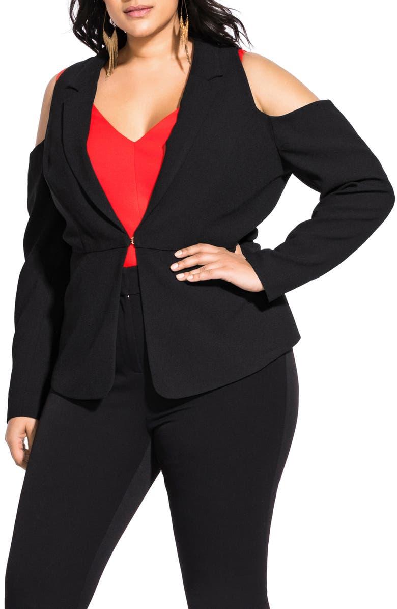 CITY CHIC Miss Holloway Jacket, Main, color, BLACK