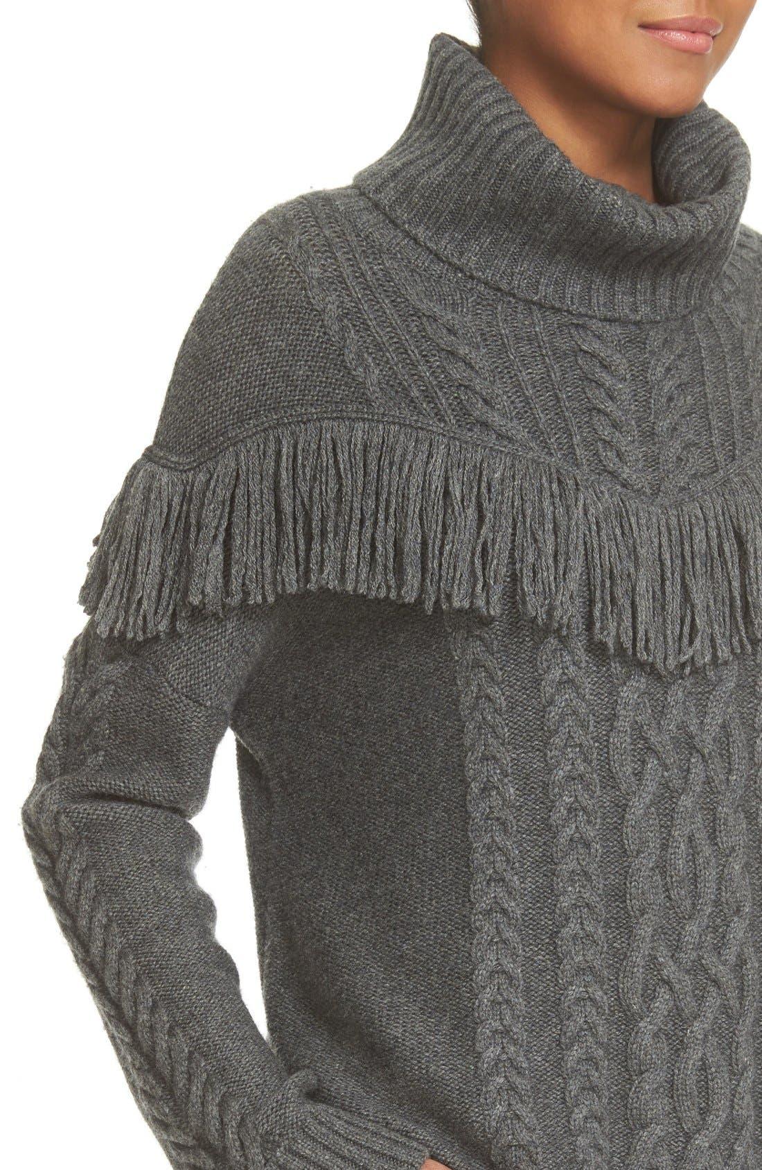 ,                             'Viviam' Fringe Cable Turtleneck Sweater,                             Alternate thumbnail 3, color,                             076
