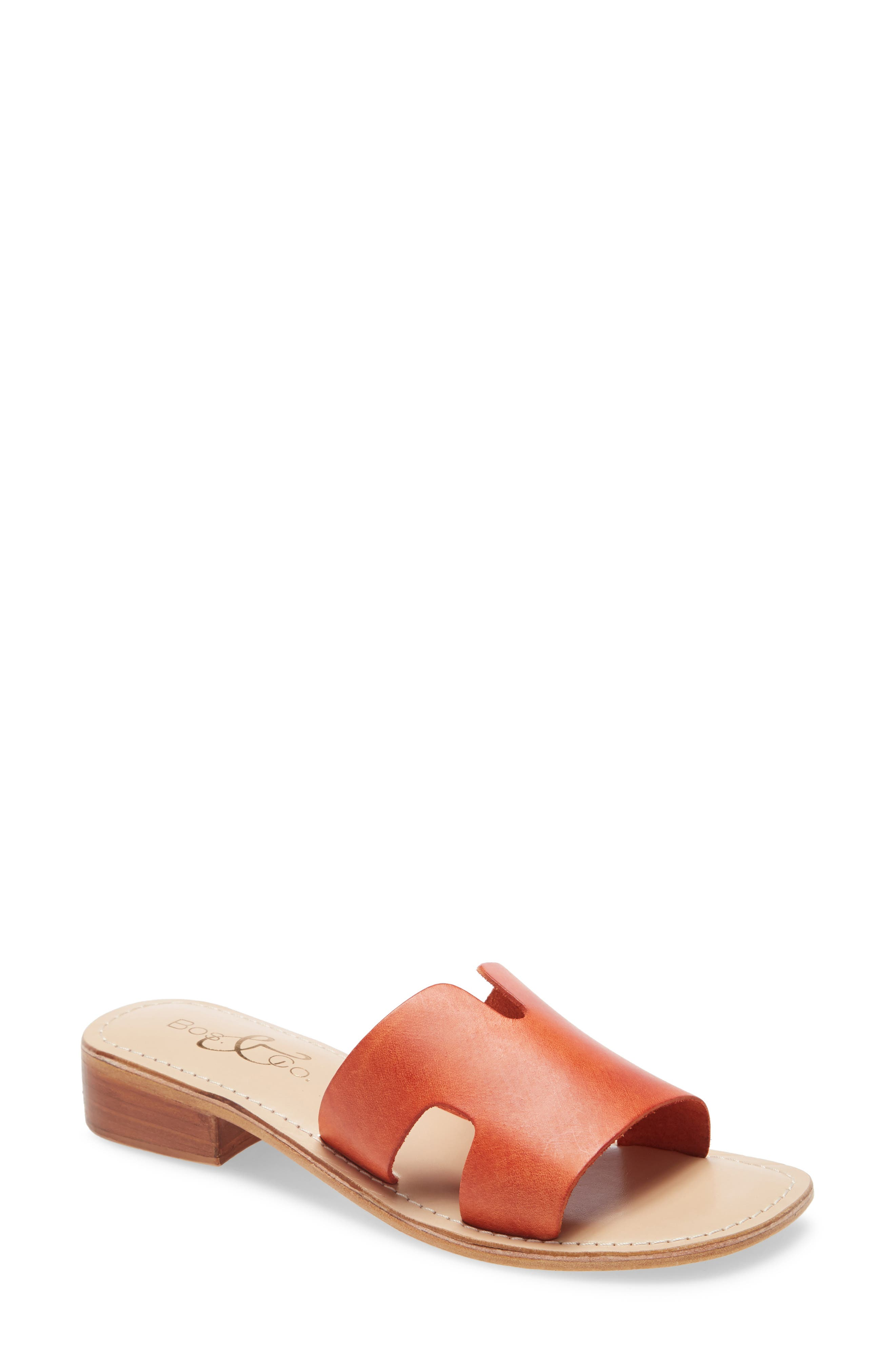 Breezy cutouts elevate the warm-weather appeal of an essential slide sandal grounded by a low stacked heel. Style Name: Bos. & Co. Imani Slide Sandal (Women). Style Number: 6002121. Available in stores.
