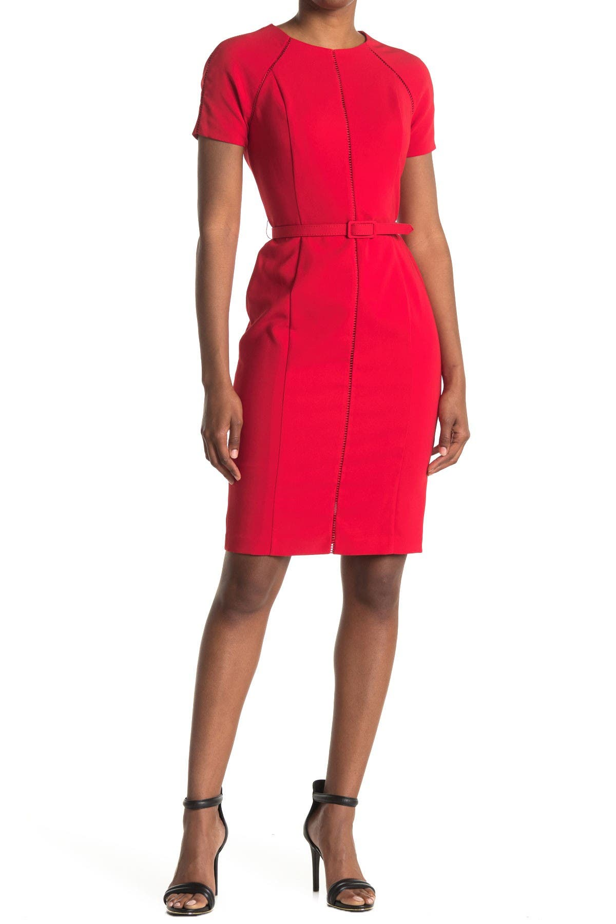 Image of Maggy London Short Sleeve Belted Sheath Dress
