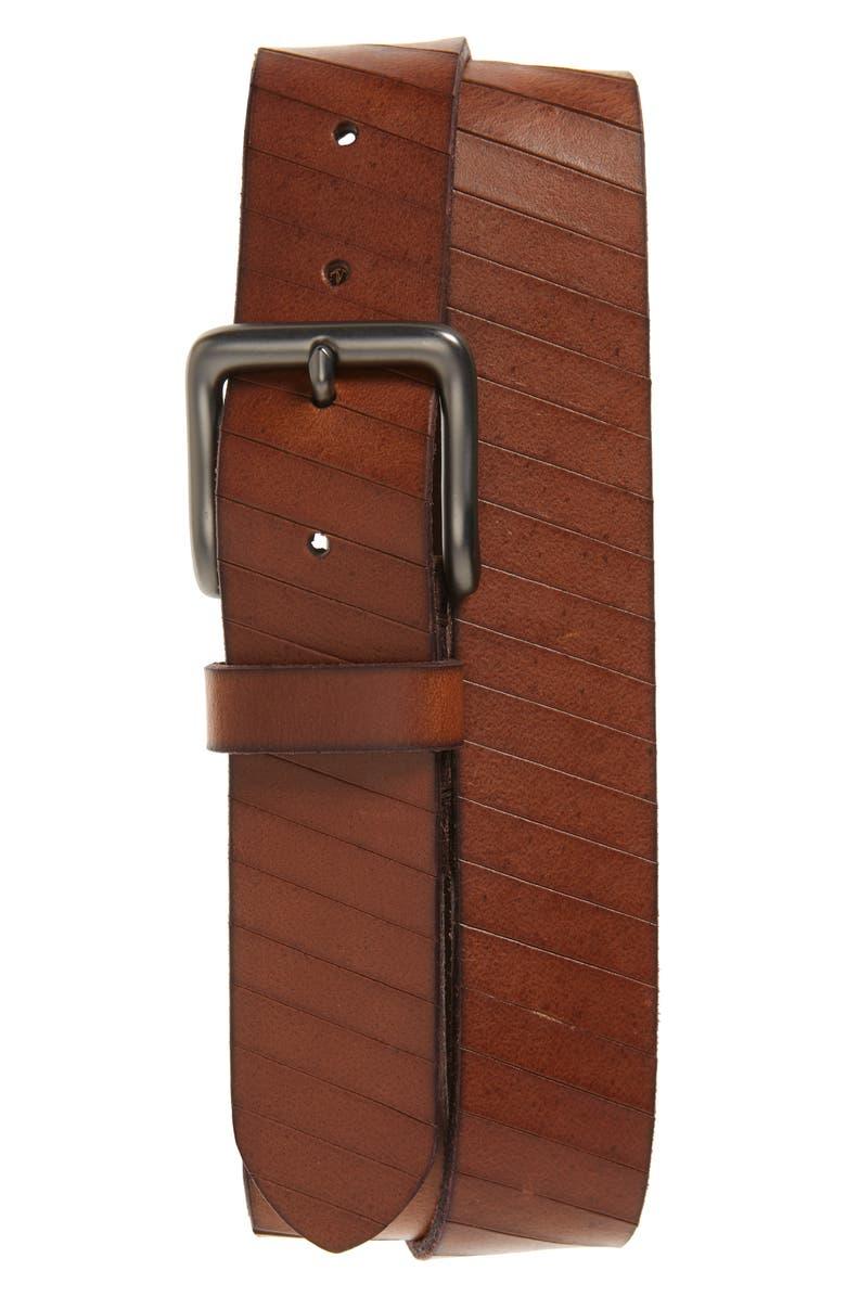 FRYE Laser Cut Leather Belt, Main, color, TAN