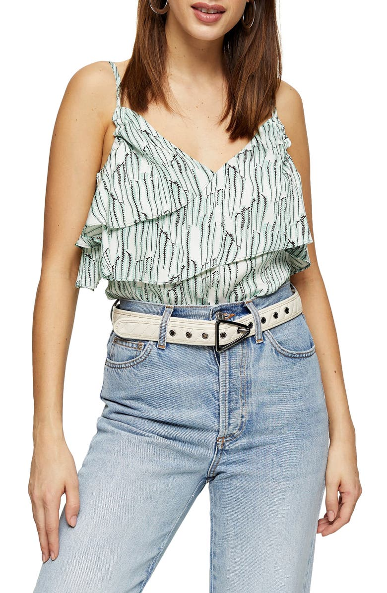 TOPSHOP IDOL Tiered Ruffle Camisole, Main, color, WHITE MULTI