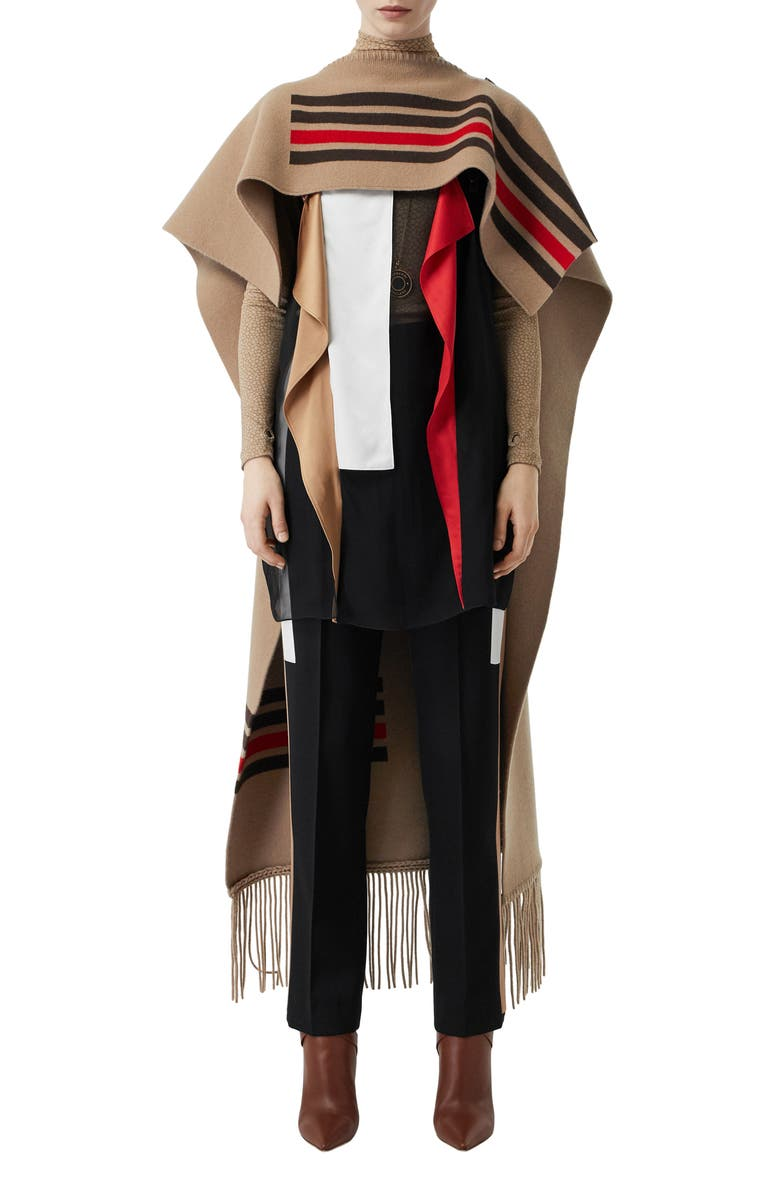 BURBERRY Stripe Wool & Cashmere Cape, Main, color, CAMEL