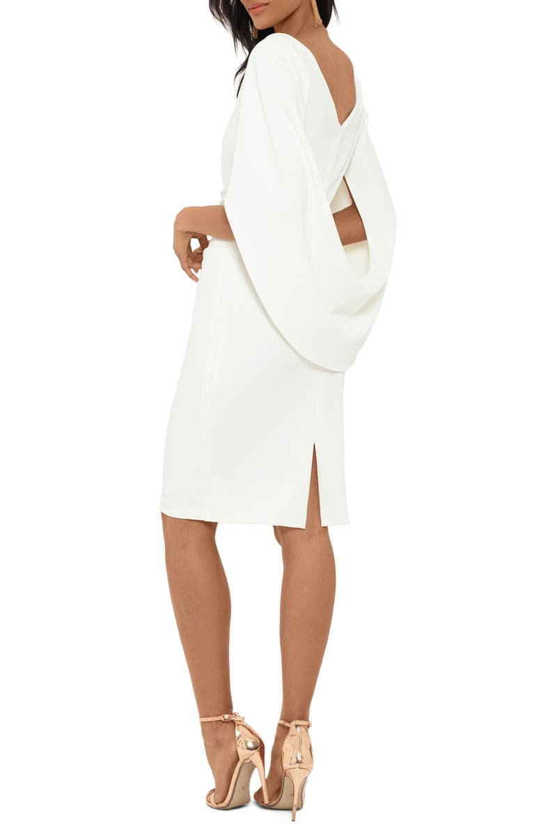 BETSY & ADAM Drape Back Scuba Crepe Cocktail Dress, Alternate, color, WHITE