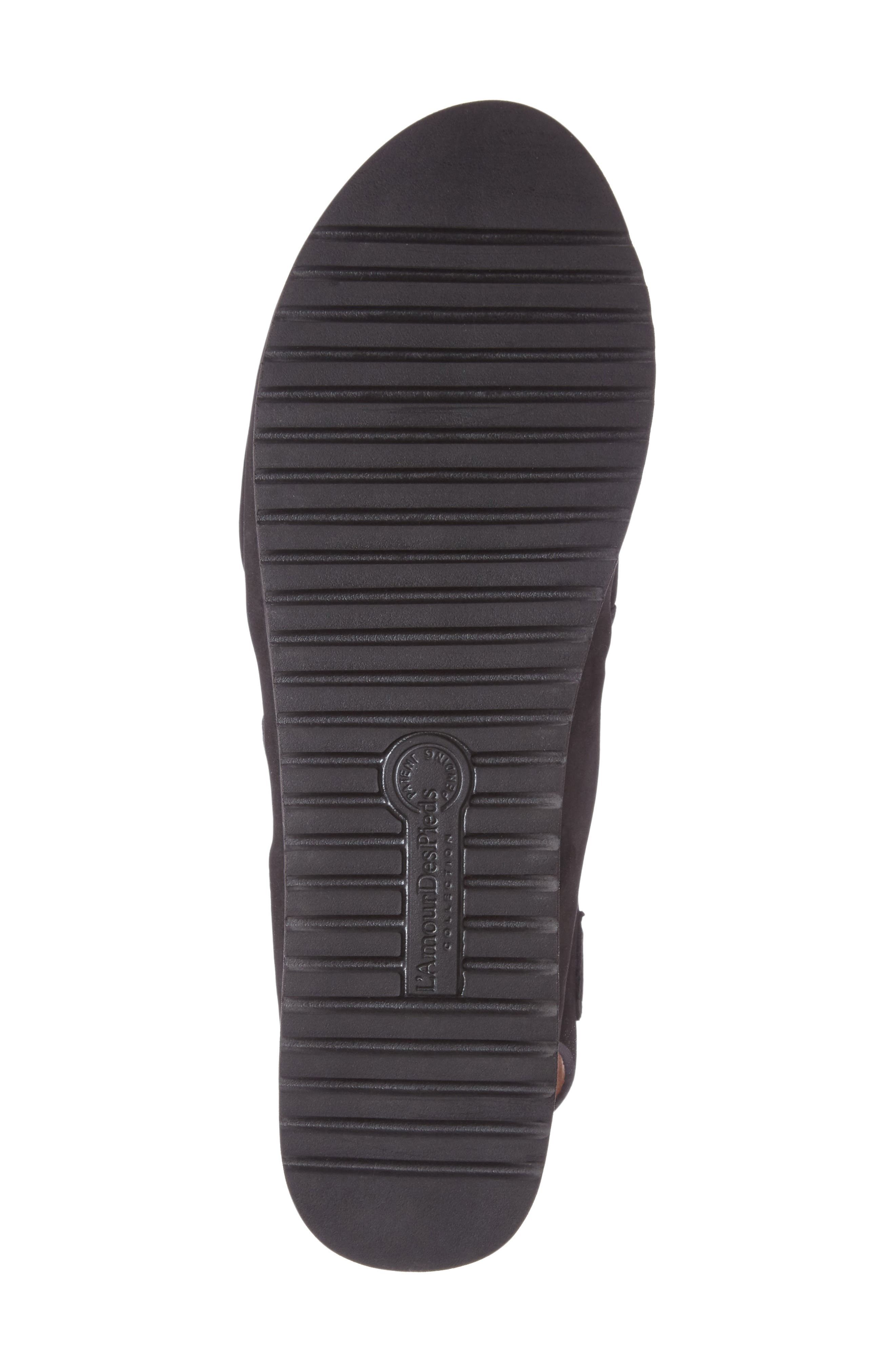 ,                             Adelais Platform Wedge Sandal,                             Alternate thumbnail 4, color,                             BLACK NUBUCK LEATHER