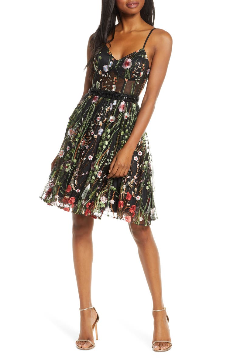 MAC DUGGAL Embroidered Fit & Flare Party Dress, Main, color, BLACK MULTI