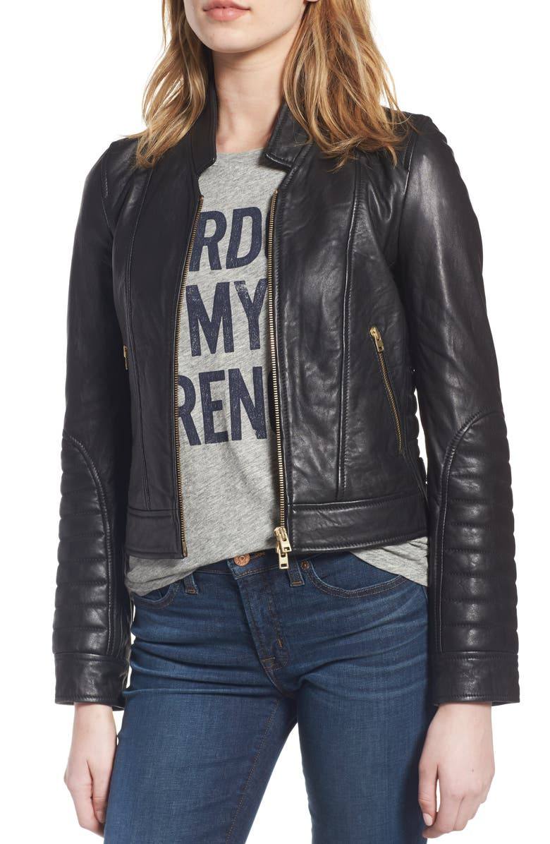 69c118e17 Collection Stand Collar Leather Jacket