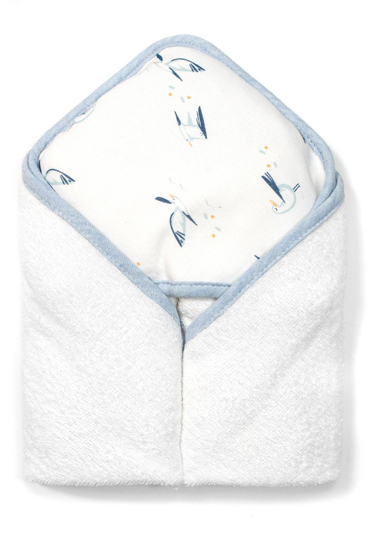 Image of RABBIT AND BEAR ORGANIC Bird Print Organic Hooded Towel