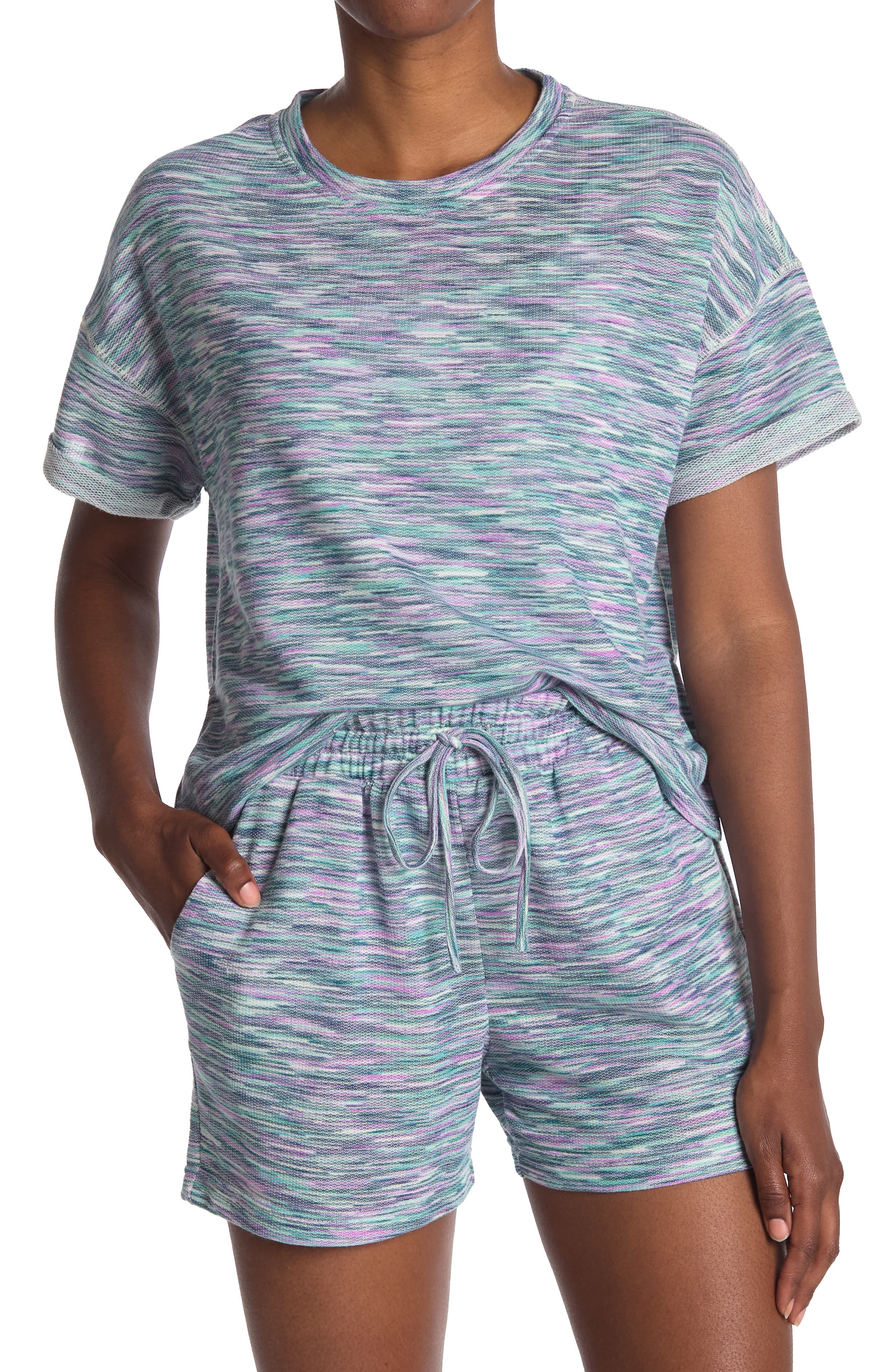 Melloday Space Dye Terry Knit Crop Top In Open Blue34
