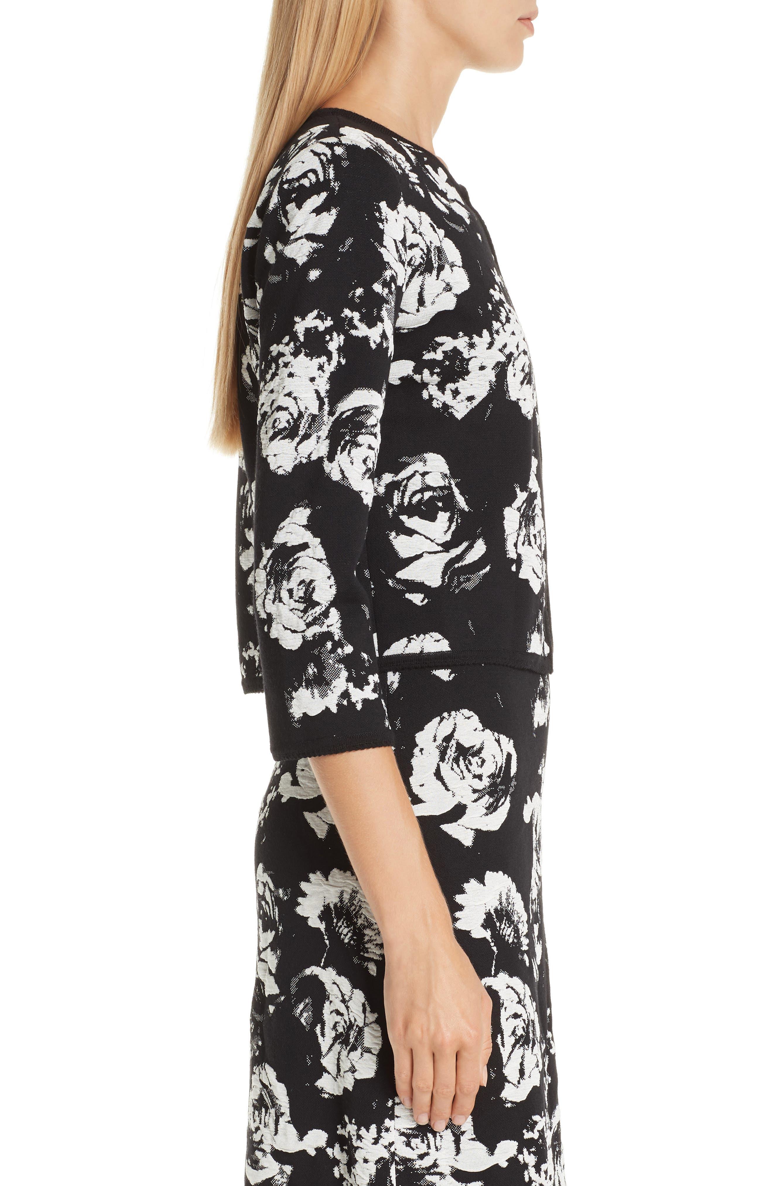 ,                             Floral Blister Knit Cardigan,                             Alternate thumbnail 4, color,                             CAVIAR/ CREAM