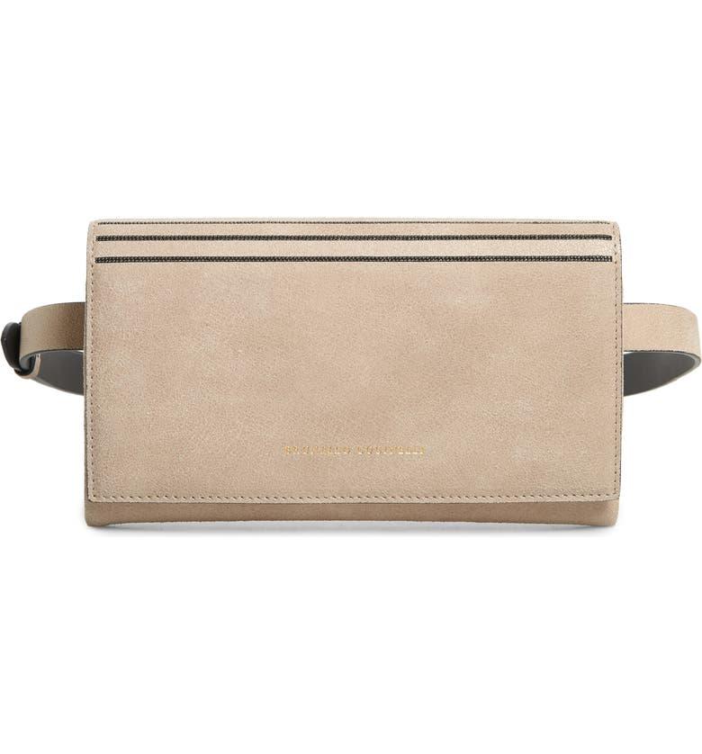 BRUNELLO CUCINELLI Mini City Leather Crossbody Bag, Main, color, SAND