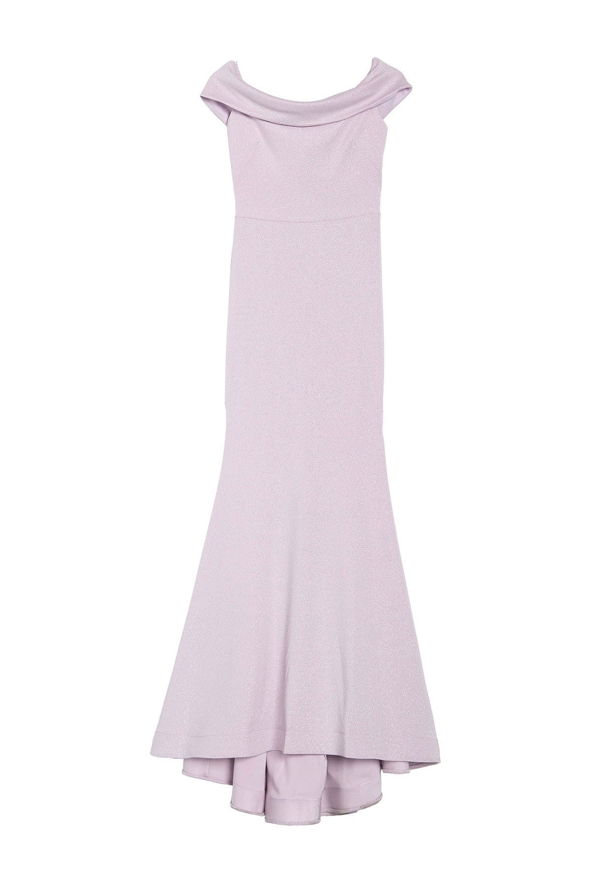 Image of JUMP Off-the-Shoulder Glitter Knit Gown
