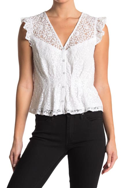 Image of Laundry By Shelli Segal Ruffle Lace Top