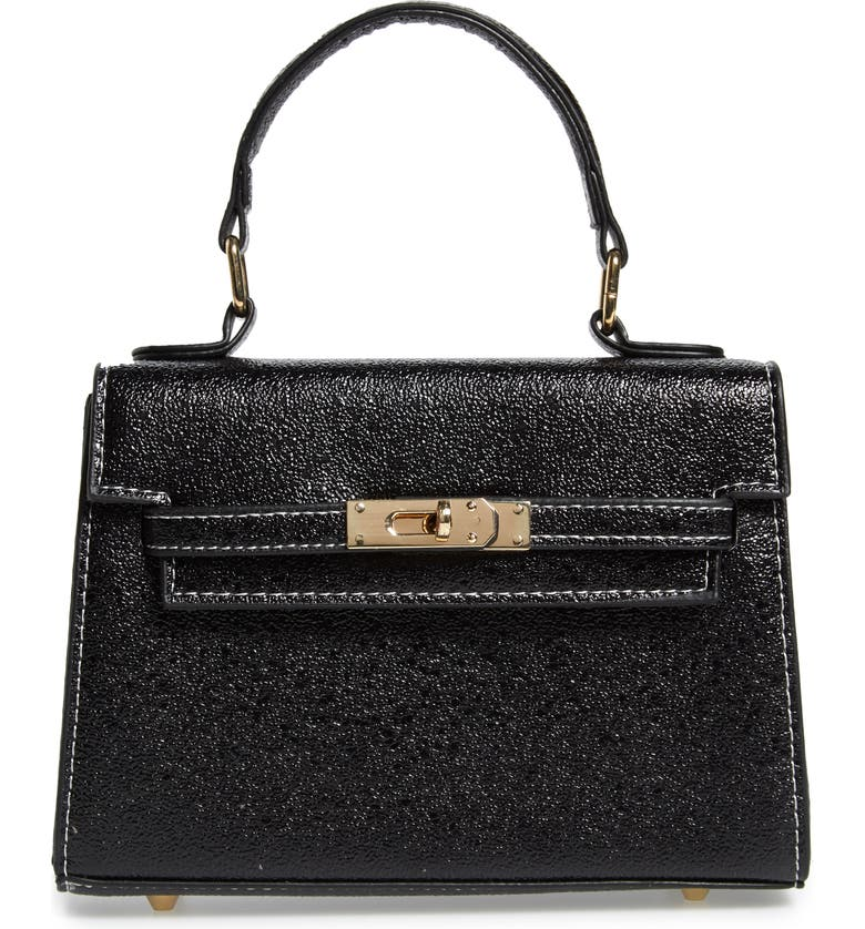 KNOTTY Textured Metallic Faux Leather Top Handle Bag, Main, color, BLACK