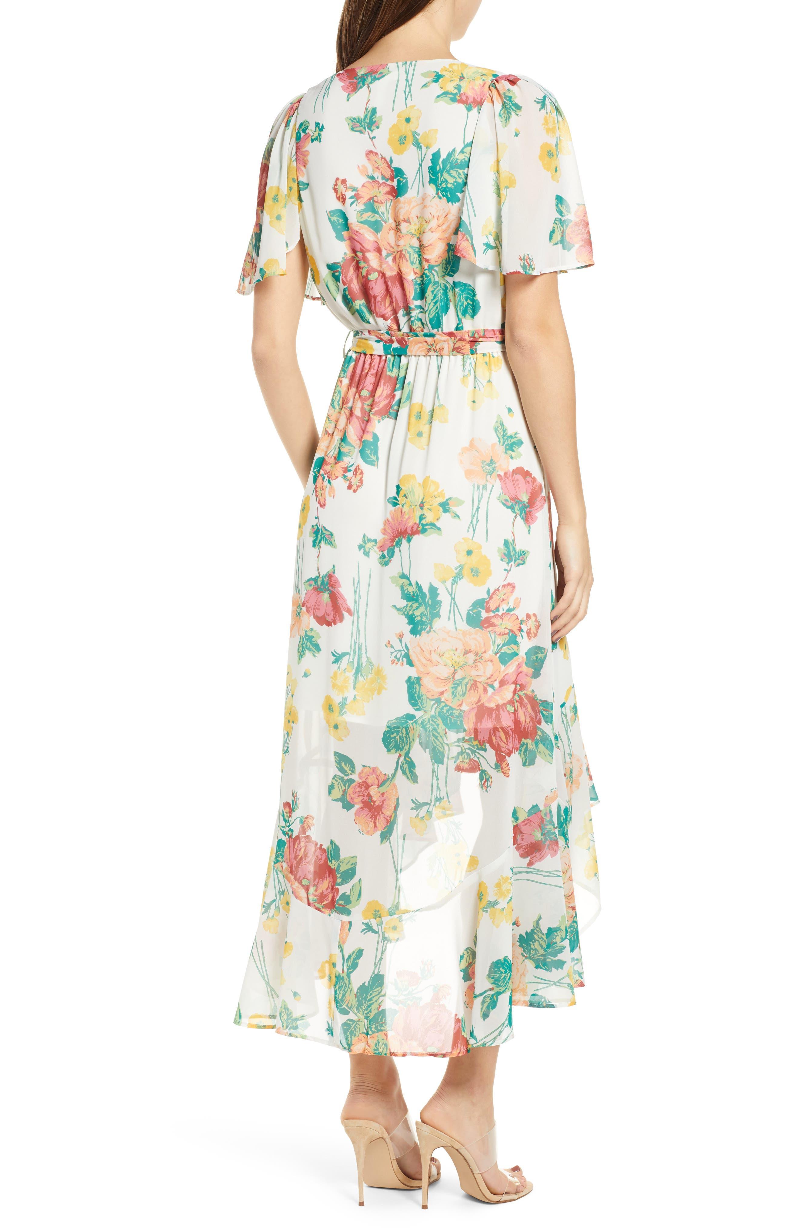 ,                             Flutter Sleeve High/Low Dress,                             Alternate thumbnail 2, color,                             IVORY BOLD ROSE