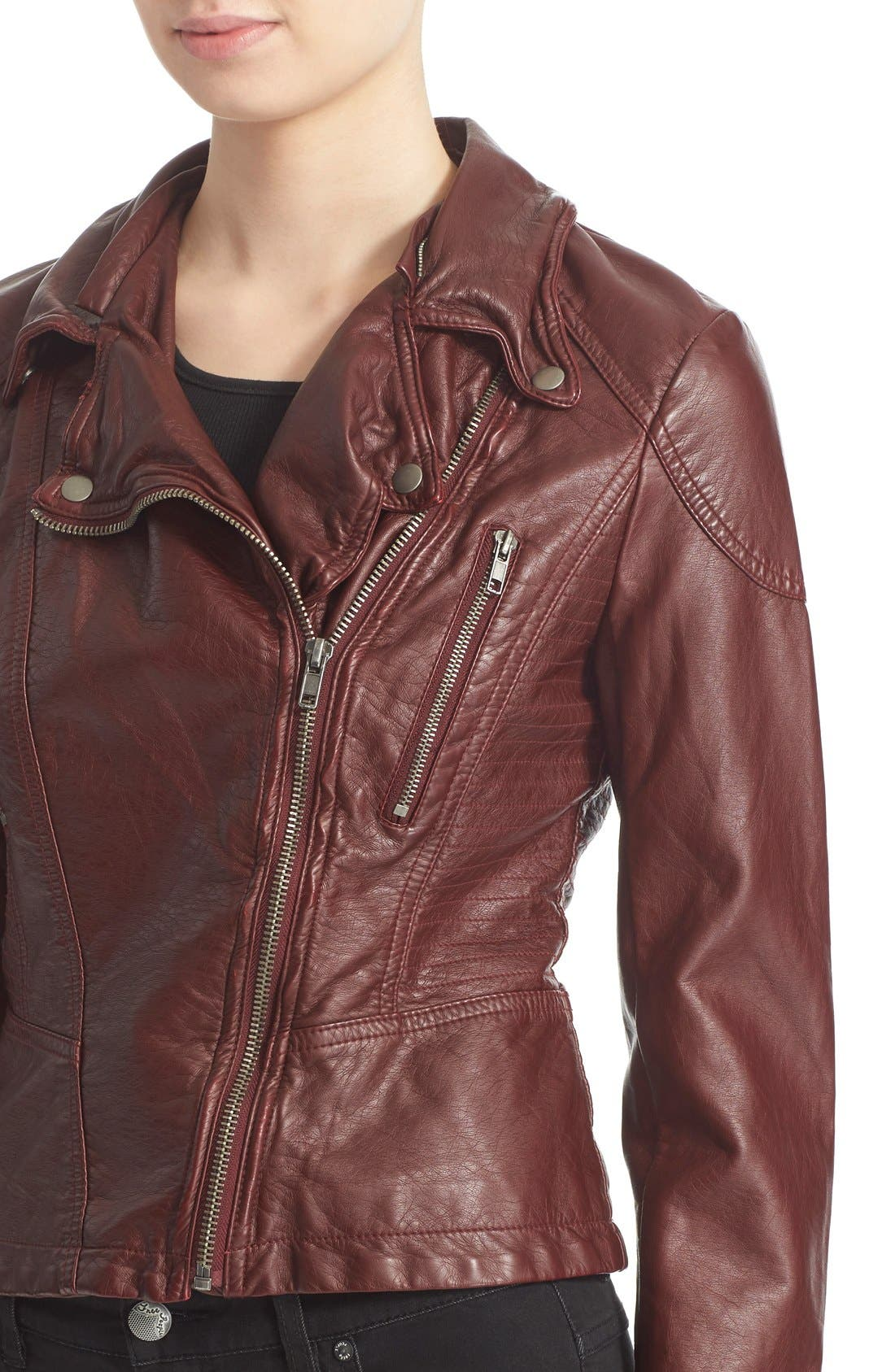 ,                             Hooded Faux Leather Moto Jacket,                             Alternate thumbnail 8, color,                             600