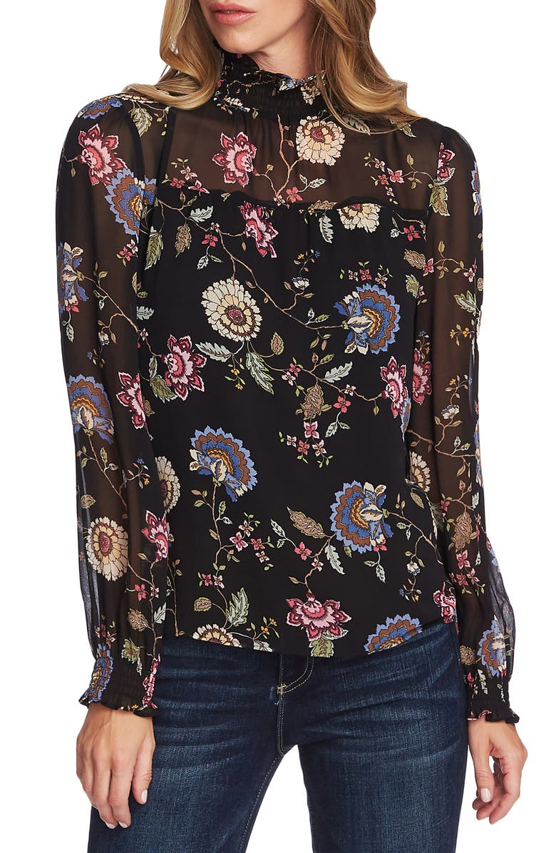 VINCE CAMUTO Windsor Floral Chiffon Top, Main, color, RICH BLACK
