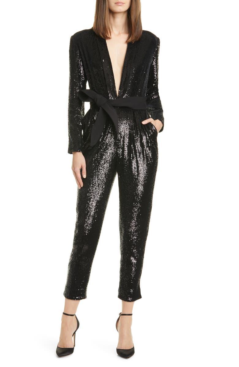 A.L.C. Kieran Sequin Belted Jumpsuit, Main, color, BLACK