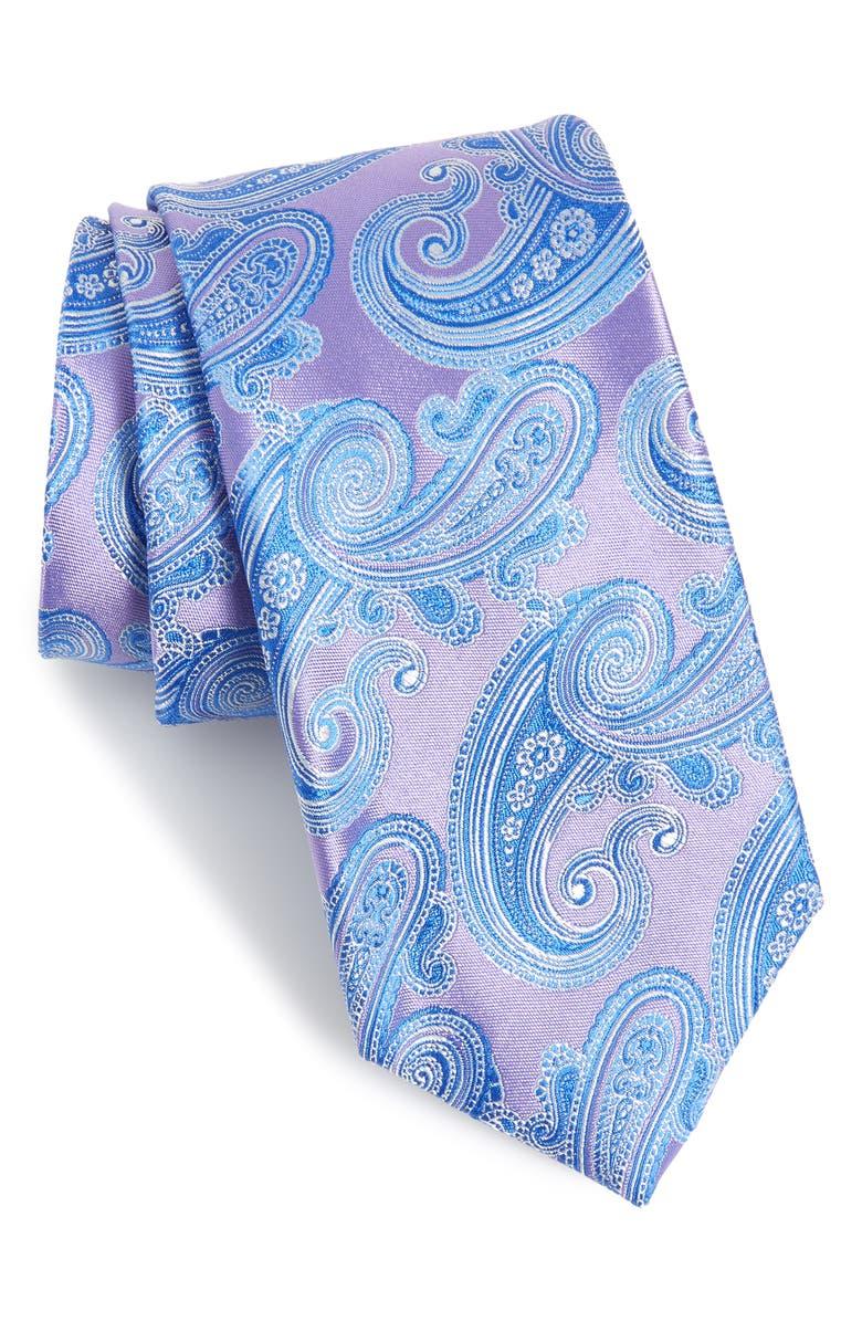 NORDSTROM MEN'S SHOP Swanee Paisley Silk X-Long Tie, Main, color, LILAC