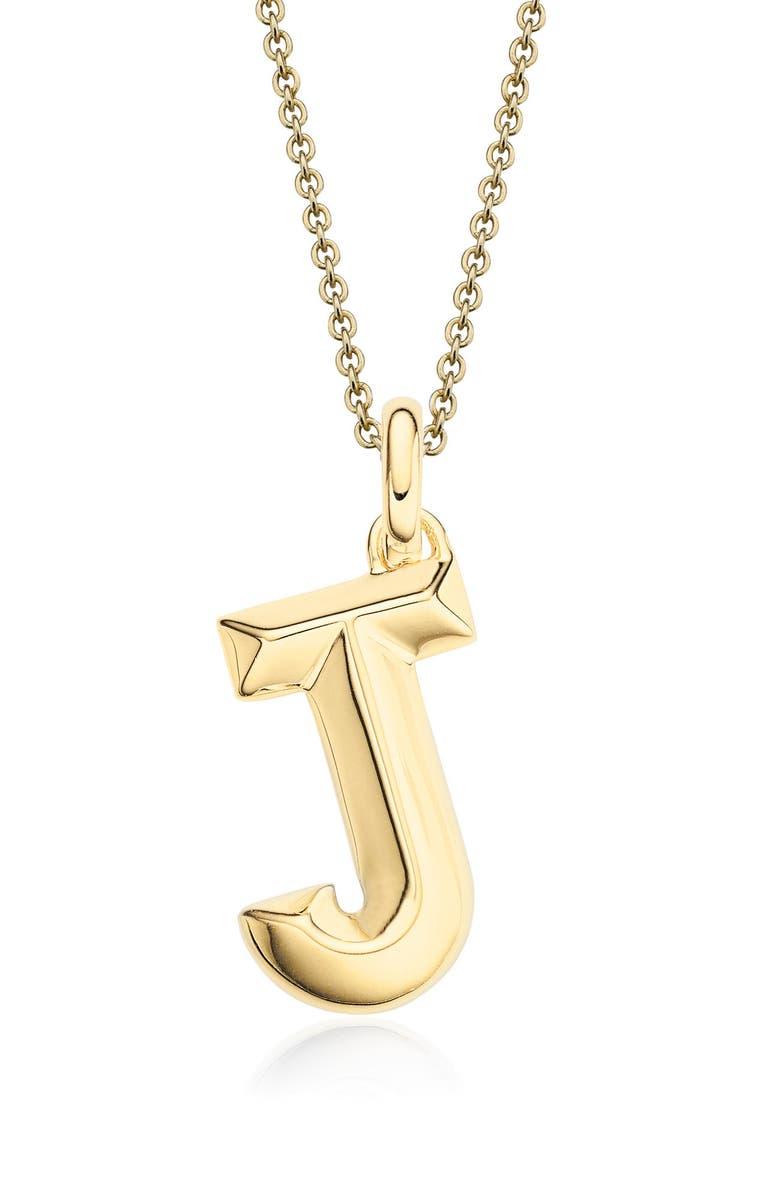 MONICA VINADER Alphabet Pendant, Main, color, Gold- J