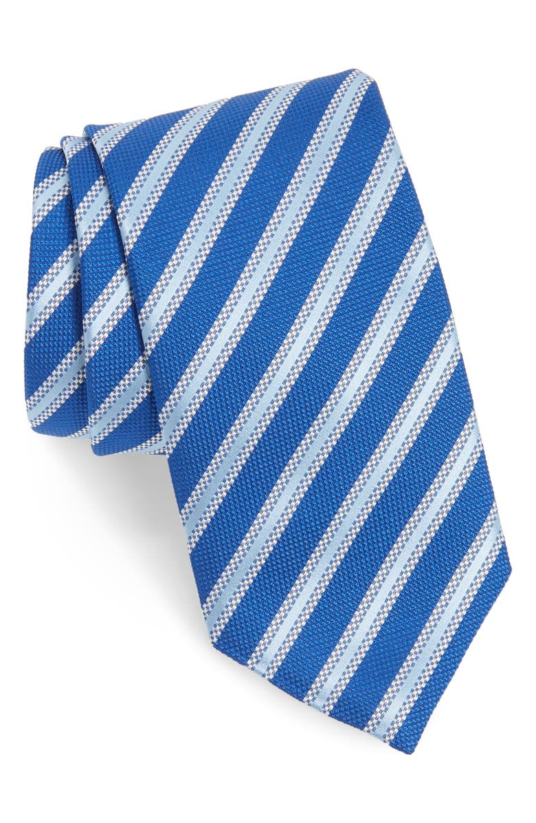 DAVID DONAHUE Stripe Silk Tie, Main, color, NAVY