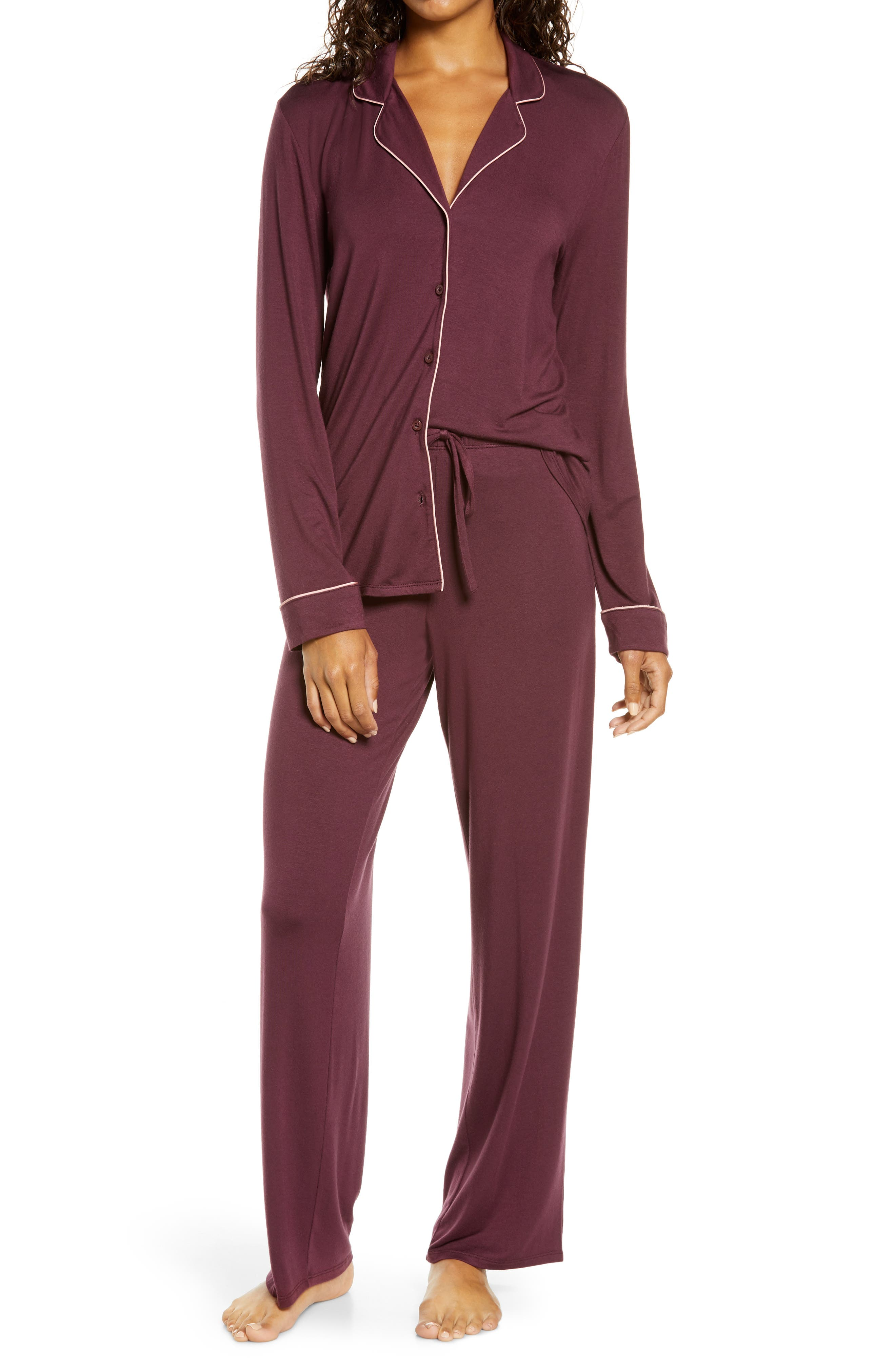 Stretchy and soft, these comfy PJs that pair a menswear-inspired top and slouchy pants are great for lounging and, of course, sleeping. Style Name: Nordstrom Moonlight Dream Pajamas. Style Number: 6000893. Available in stores.