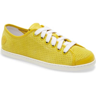 Camper Uno Perforated Sneaker, Yellow